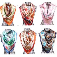 Wholesale Silk scarves for women bohemian style fashion accessories Polyester wraps flower floral printed Polyester scarf cm