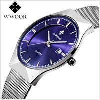 Precio de Gifts-Nueva relojes de pulsera de malla de los hombres de la marca de fábrica del estilo Reloj suizo del reloj de moda del acero inoxidable de la manera impermeable DWK-004
