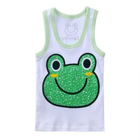 Wholesale Cute Boy Tank Top - 2-5 years Children vest Baby summer boy tops frog cartoon Cotton sleeveless kids tank cute animals Camisoles WA0147