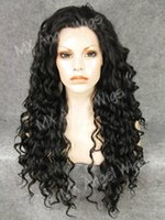 Wholesale Long Curly Heavy Wig - K18 Stylish 26inch Long Curly Darkest Brown Color Synthetic Lace Front Wigs Heat Resistant Heavy Density kanekalon Wigs
