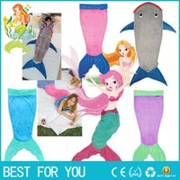 Cheap Mermaid Blanket Towel Envelopes For 5-12T Kids Soft Animal Sleeping Bag Pajamas Overalls Children Quilt Velvet Shark Blanket new hot