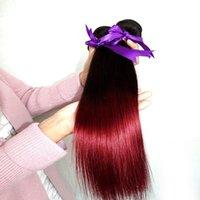 al por mayor pelo elfin-Cabello natural de Elfin Ombre del pelo de la onda recta del color del ombre del pelo humano de Peruvian # 1B / RED 1 extensiones del pelo humano del tono de la porción dos de las PC
