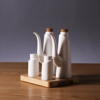 base dining set - Decorative Four piece Set Ceramic Cruet with a Bamboo Base Household Kitchenware Accessories for Home Decor Dining Ornament