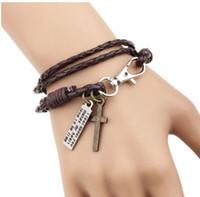 Wholesale Han edition Korea bracelet cross leather bracelet Original accessories national bracelet Double fashion brown black bracelets