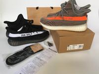 al por mayor calzado deportivo de color naranja-Kanye West SPLY 350 Boost Season 3 zapatos Naranja Negro raya piratas negros Zapatos AQ5831 hombre zapatillas de deporte (+ Llavero + Calcetines Bolsa Recibo +)
