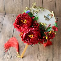 Wholesale Vintage Silk Flowers Hand Fans For Perfomance Bridal Accessories Fans With Pretty Scenic Views Party Gifts Arts Crafts