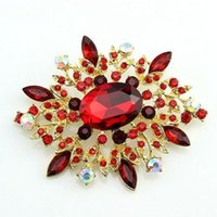 amber cross pendant - 2016 New Free postage factory direct selling in Europe and America gilded red resin rhinestone pendant brooch brooch retail