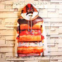 big hamburger - 2016 Autumn new mens big size brown hoodie D print delicious hamburger big size loosen painting high quality sweatshirts