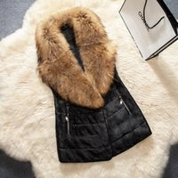 argyle vest button - S XL Fur Shawl Collar Leather Vests Jackets Coats Women Ladies Slim Long Waistcoat Outwear Sleeveless Argyle PU Parka Jacket CJF0912