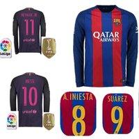 Wholesale Best selling Barcelona long sleeved jersey MESSI ARDA A INIESTA SUAREZ SERGIO PIQUE I RAKITIC NEYMAR JR soccer shirts