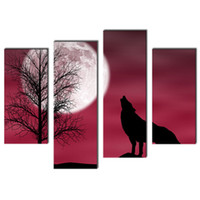 background pictures animals - 4 Picture Combination Red Howling Wolf In A Dark And Cloudy Night With Moon Red Background Animal For Home Modern Decor