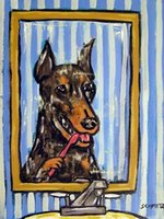 bathroom wall painting - DOBERMAN PINSCHER dog bathroom wall art gift new anim Hand Painted Folk Pop Art Oil Painting any customized size accepted sch