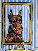 bathroom canvas - DOBERMAN PINSCHER dog bathroom wall art gift new anim Hand Painted Folk Pop Art Oil Painting any customized size accepted sch