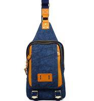 Wholesale Factory direct Brand Fashion Bag Canvas men chest pack outdoor leisure men s chest bag canvas collocation Crazy Horse Leather Shoulder Bag