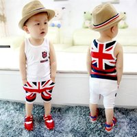 baby singlet suits - Fashion Summer Baby Boys Clothes Sets Kids Sport Suits Flag Sleeveless T Shirts Baby Clothing Vest Harem Pants Shorts Singlet