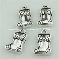 baby shoe necklace - 20471 X Vintage Silver Alloy Xmas Baby Shoes Dangle Pendant Jewelry Findings
