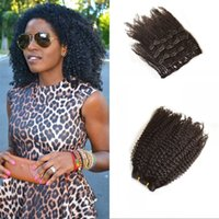 asian wholesale extensions hair - 4A Afro Kinky Curly Clip in Hair Extension Asian Hair Afro Kinky Human Hair Clip ins Full Head G set
