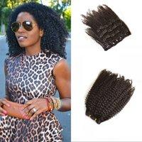 Clip rizado rizado afro 4A en el pelo humano asiático afro de la extensión del pelo del clip de pelo humano afiligranado Cabeza llena 120G 7 PC / sistema