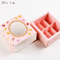 Wholesale Colors Pink Green Yellow Macaron Packing Boxes Cupcake Gift Boxes Bakery Chocolate Pastry Packaging Paper Box PP560