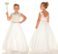 Wholesale 2016 White Girls Pageant Dresses Size Sparkly Rhinestone Beading Beads Short Sleeve Jewel Ball Gown Backless Formal Wedding Dress For Kids