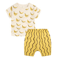 banana outfit - INS childen outfits summer new boy girls banana printed t shirt stripe shorts sets boys clothing set kids sport suits A8182