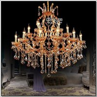 Hotel big crystal chandelier lamp - High Quality Maria Theresa Crystal Chandelier Light Large Crystal Pendant Lamp Big Amber Chandelier Light Prompt Shipping