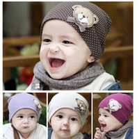 baby beret - Eight color children s knitted cap Lovely baby bear head cap Baby cartoon knitted hats for men and women