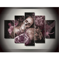 animal skull pictures - New Canvas Printings Skull And Roses Painting Wall Art Home Decoration Poster Canvas Unframed
