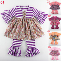 chinese wholesale clothing - Children Clothing Spring Design Toddler Clothing Girls Outfits Boutique Stripe Baby Set Children Outfit pant sets