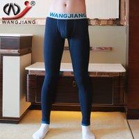 Cheap Long Johns Men Warm WJ Brand Low Waist Plus Thick Velvet Pouch Long Men Leggings Tights Underwear Mens Thermal Long Johns