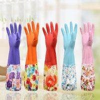 Wholesale 2016 New Arrival Pair Durable Waterproof Household Glove Warm Dishwashing Glove Water Dust Stop Cleaning Rubber Glove