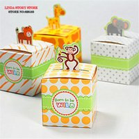 animal baby shower favors - 2016 animals Baby Shower candy favors box birthday Party decorations kids paper box souvenirs baby shower favor box