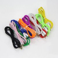 Wholesale Braided AUX mm Stereo Auxiliary Car Audio Cable Male to Male for iPhone Samsung Galaxy S5 PDA ipad MP3