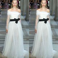apple new york - Charming Long Sleeves Evening Dresses Bateau Neckline Black Belt Evening Gowns Pleats New York Fashion Week Celebrity Gowns