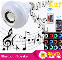 Wholesale E27 LED Bulbs Wireless Bluetooth W LED Speaker Bulb RGBW Music Play Lighting mobile control and Keys Remote Control enjoy green life