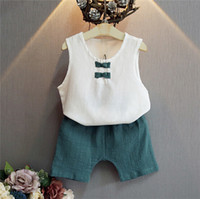 Wholesale New Set Summer Kids Short Pants Top Set Girls Cool Style Sleeveless White Top Short Pants Fashionable Cute Lolita Children Sets A