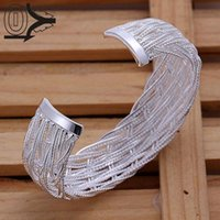 angle mesh - angle crystal Silver Plated Bangle Wedding Jewelry Accessories Big Opening Flower Wrapping Wire Mesh Bangles Brac