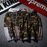 active fake - New Autumn Winter Men s Camouflage Hoodies Cloth Fake two piece Joint hooded jacket sets round collar coconut hoodie