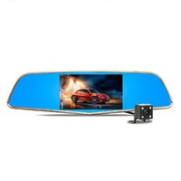big blue view - Double lens rear view mirror car dvr driving video recorder with high definition big screen parking monitoring