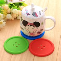 Wholesale 2016 DHL Cute Colorful Silicone Button Cup Cushion Holder Drink Tableware Coaster Mat Pads Creative coin coaster