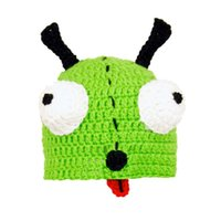 baby robot costume - Novelty Crochet Invader Zim Hat Handmade Knit Crochet Baby Boy Girl Cartoon Green Robot Dog Beanie Halloween Costume Toddler Photo Prop