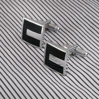 Wholesale High Quality French Style Business Men Cufflinks Square Shaped Cuff links Brass Stamping Gentalman Custom Enamel Cufflinks