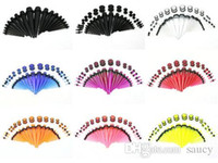 Wholesale 900pcs ear taper kits ear plugs kits gauges expander stretcher piercings body jewelry ear taper kits translucent color