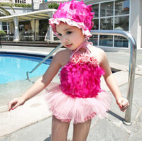 bathing caps with flowers - 2016 Summer Baby Girls Swimwear Flowers Princess Lace Tutu Skirt Tops Dress Shorts With Cap Kids Children Swimsuit Bathing Suit
