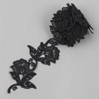 Wholesale 2 Yards Black Rose Flower Lace Venice Applique Sewing TrimsS10508