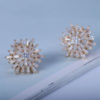 baguette vintage jewelry - Fashion Vintage Silver Burst Snow Flower Earrings for Women Studs Prong Set Baguette Cut Hexagon CZ Earrings Geometric Jewelry