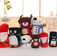 acrylic doll - Kids Christmas Blankets Santa Claus Elk Blankets Snowman Penguins Blankets Cartoon Travel Blankets Flannel Xmas Blankets Plush Dolls B1201