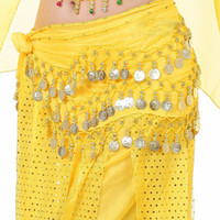 Wholesale New Rows Coins Belly Egypt Dance Hip Skirt Scarf Wrap Belt Costume High quality Stage Wear B0285