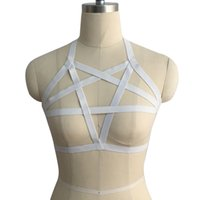 Cheap Wholesale-1.5 cm white Elastic Bra Harness purple RED Harness body cage bra Sexy Woman Bondage witchy Goth Corset Nightclub Party Wear2016