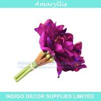 amaryllis bouquet - 3pcs Purple Amaryllis Orchids Bride Banquet Flower Silk Artificial Flower Wedding Party Fake Flower Flower